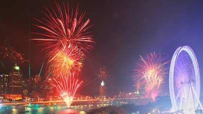 Spectacular Fireworks Along South Bank At Brisbane Festival 2012