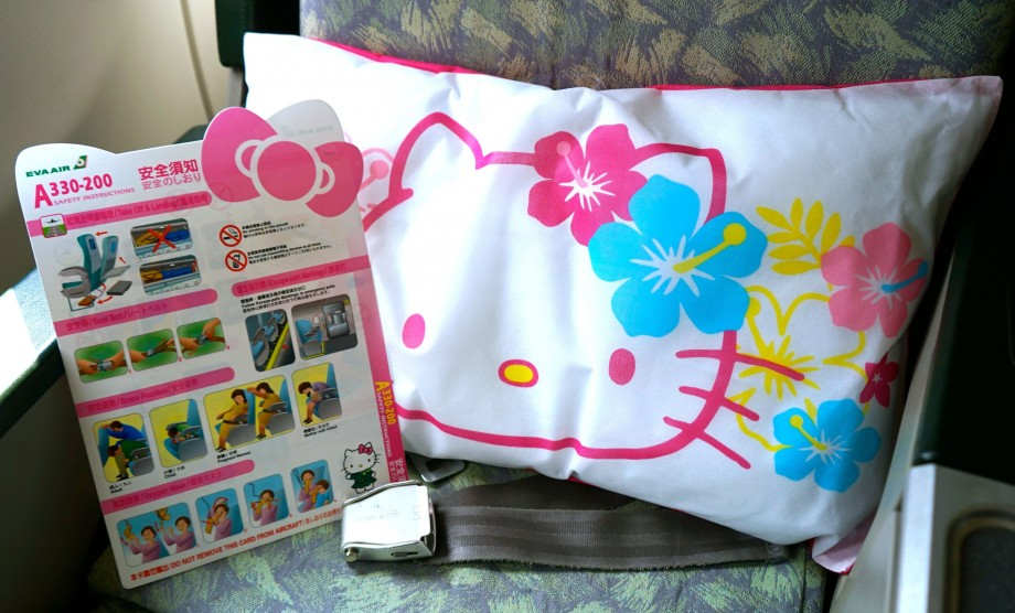 EVA Air Hello Kitty Safety Brochure & Seat Pillow - AspirantSG