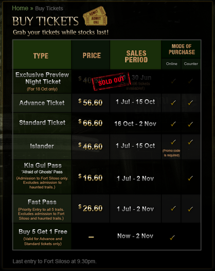 Sentosa Spooktacular 2013 Ticket Prices