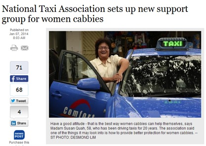New Support For Female Cabbies In Singapore