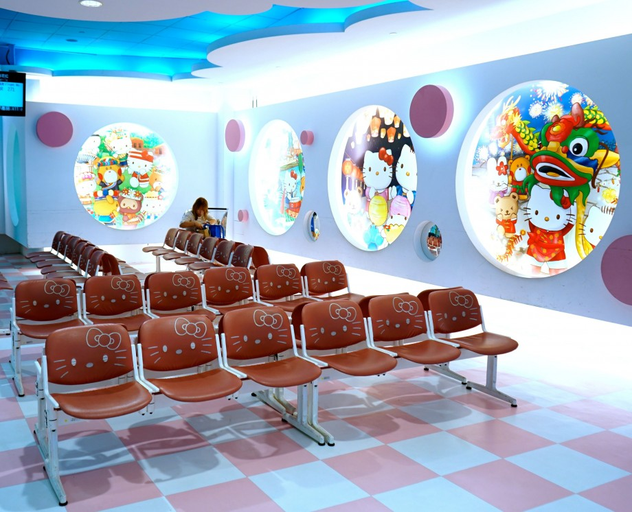 EVA Air Hello Kitty Boarding Gate Waiting Area