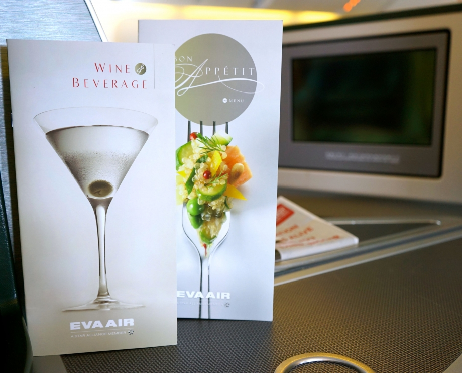Menu On EVA Air Royal Laurel Class - AspirantSG