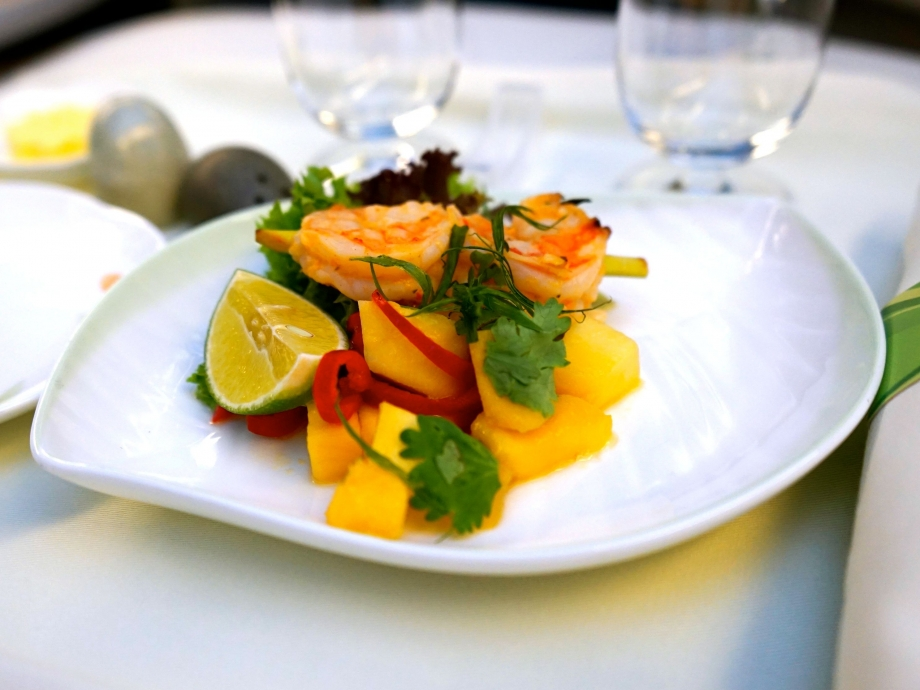 EVA Air Royal Laurel Class Hors D'oeuvre - Grilled Lemongrass Prawn with Mango and Chili Salsa - AspirantSG