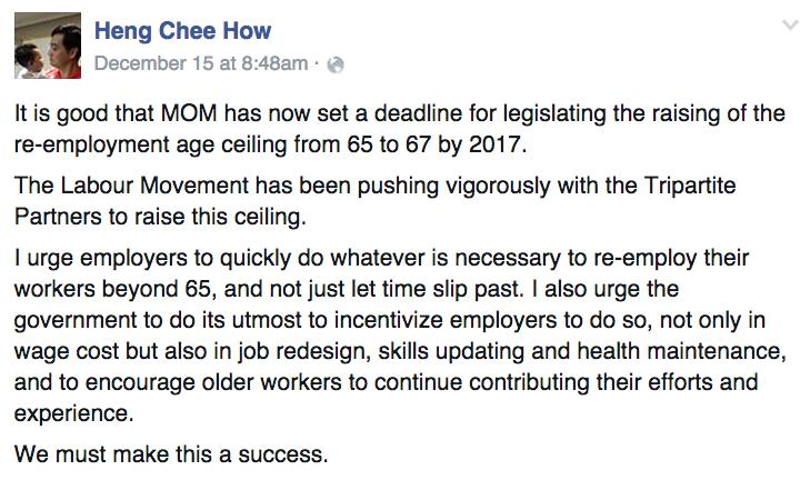 Heng Chee How Facebook Post On Raising Re-Employment Age - AspirantSG