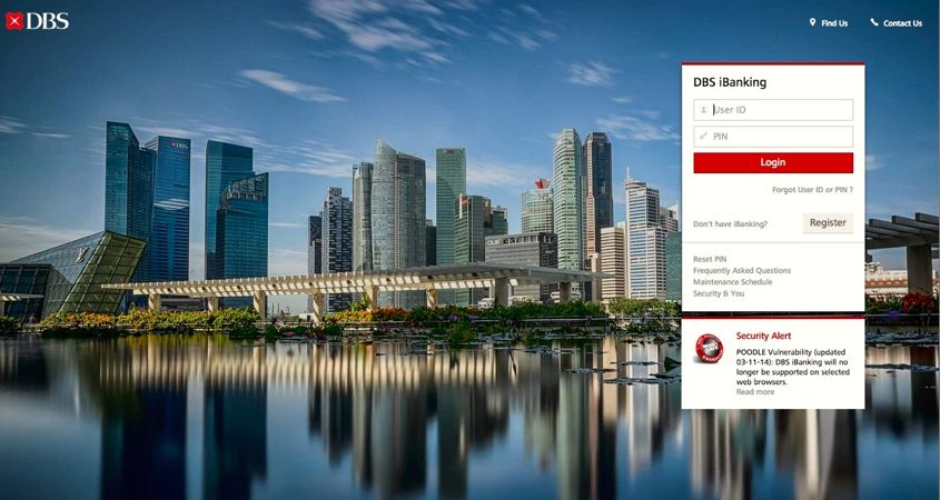 DBS iBanking New Login Screen - AspirantSG