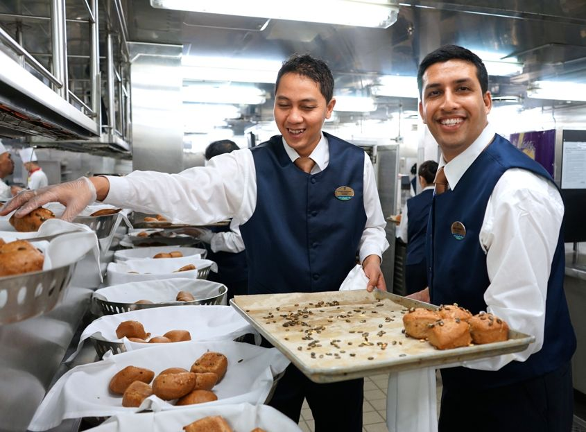 Putting pastry into baskets on Mariner Of The Seas Royal Caribbean - AspirantSG