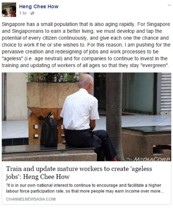 Heng Chee How Facebook Post On Ageless JObs & Evergreen Workers