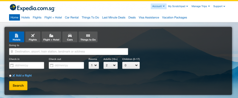 Expedia Website For Tickets Booking - AspirantSG