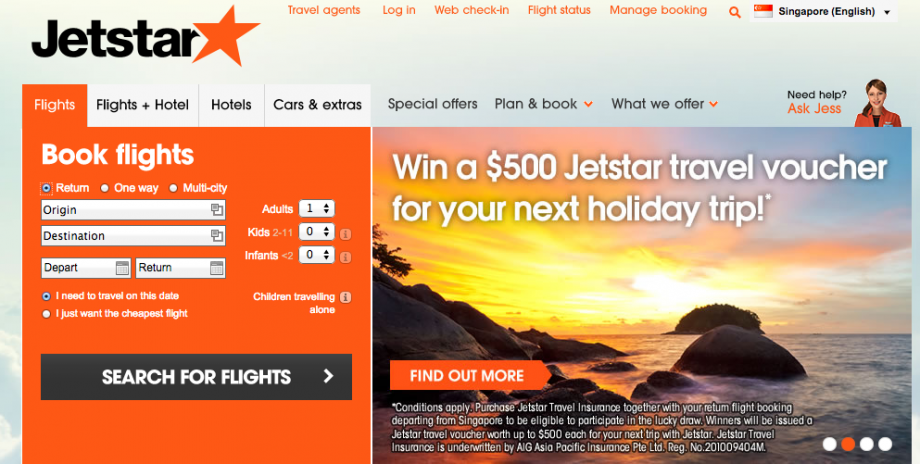 JetStar Website - AspirantSG