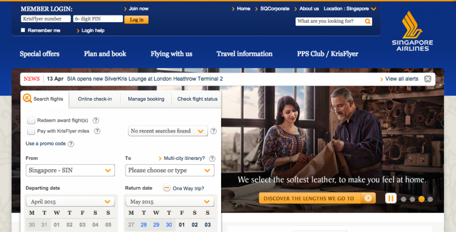 Singapore Airlines Website - AspirantSG