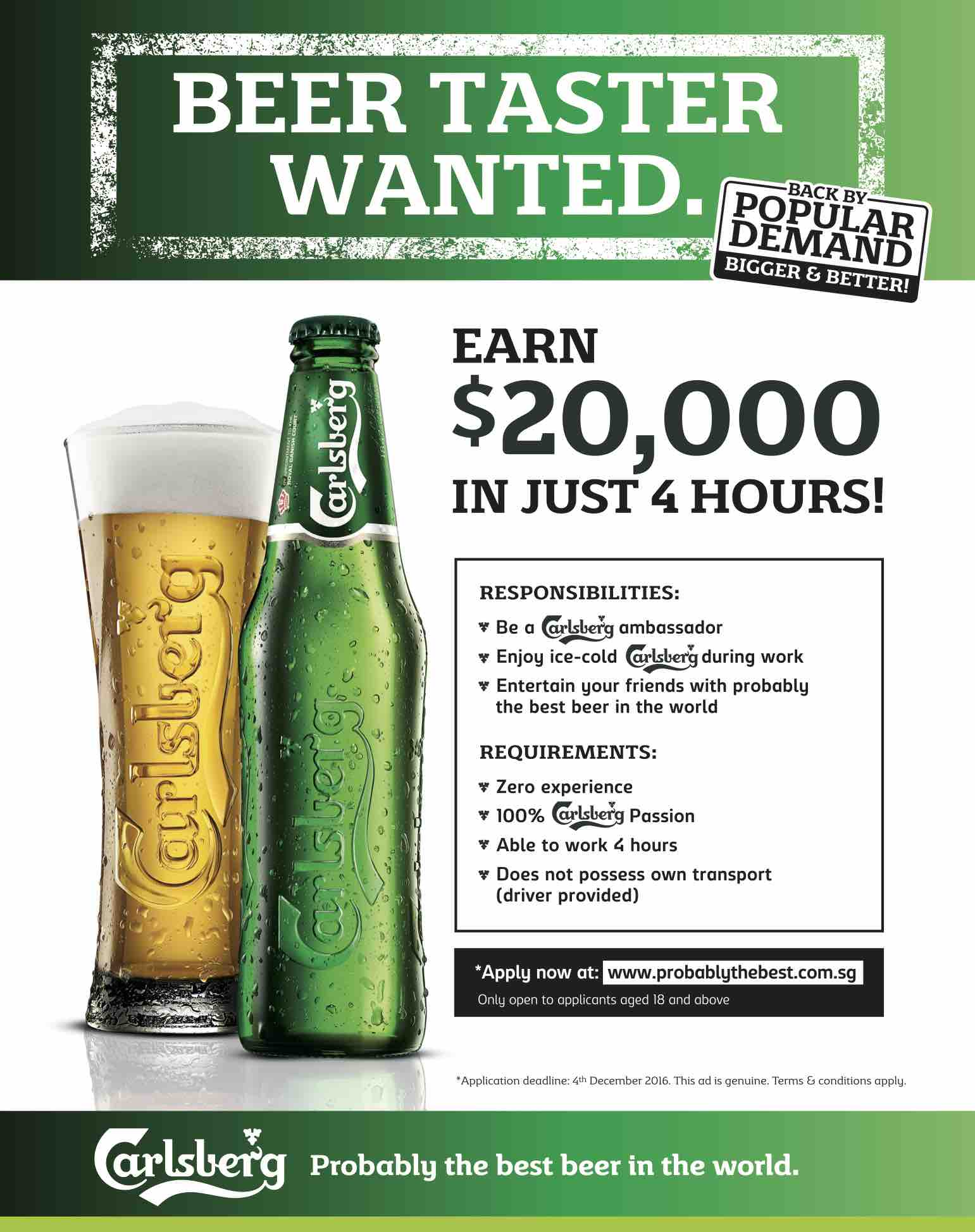 carlsberg pays for probably the best job in the world carlsberg probably the best job in the world