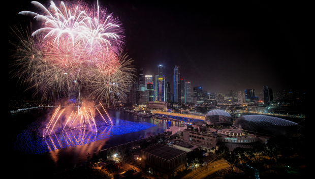 Countdown Fireworks Display At Marina Bay Area