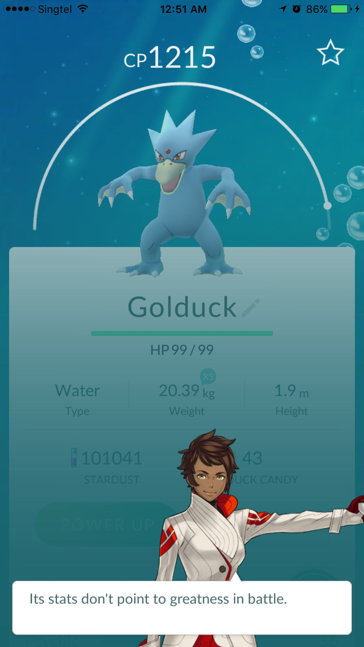 Golduck Appraisal By Pokemon Go Team Leader - AspirantSG
