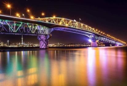 Auckland Harbour Bridge Lit Up For New Zealand Waitangi Day
