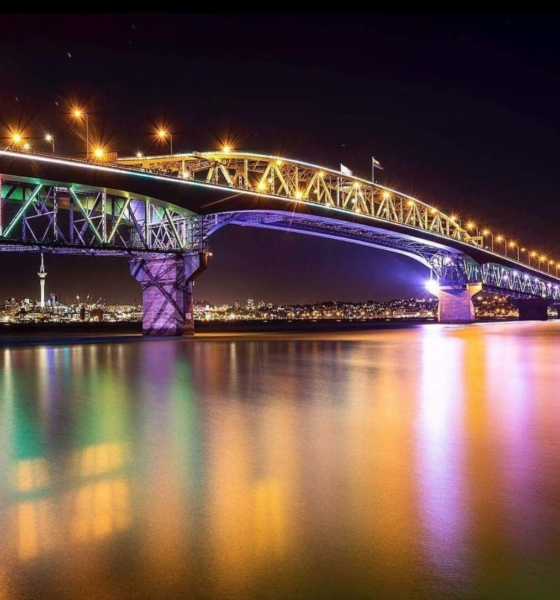 Auckland Harbour Bridge Lit Up For New Zealand Waitangi Day